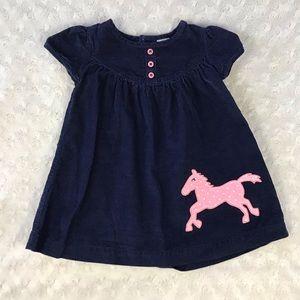 Carter's Blue Corduroy Dress Pink Horse Pony 9M